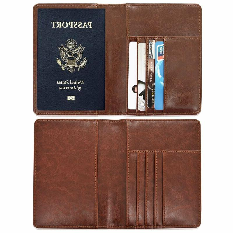 Solid PU Leather Cover Wallet Travel