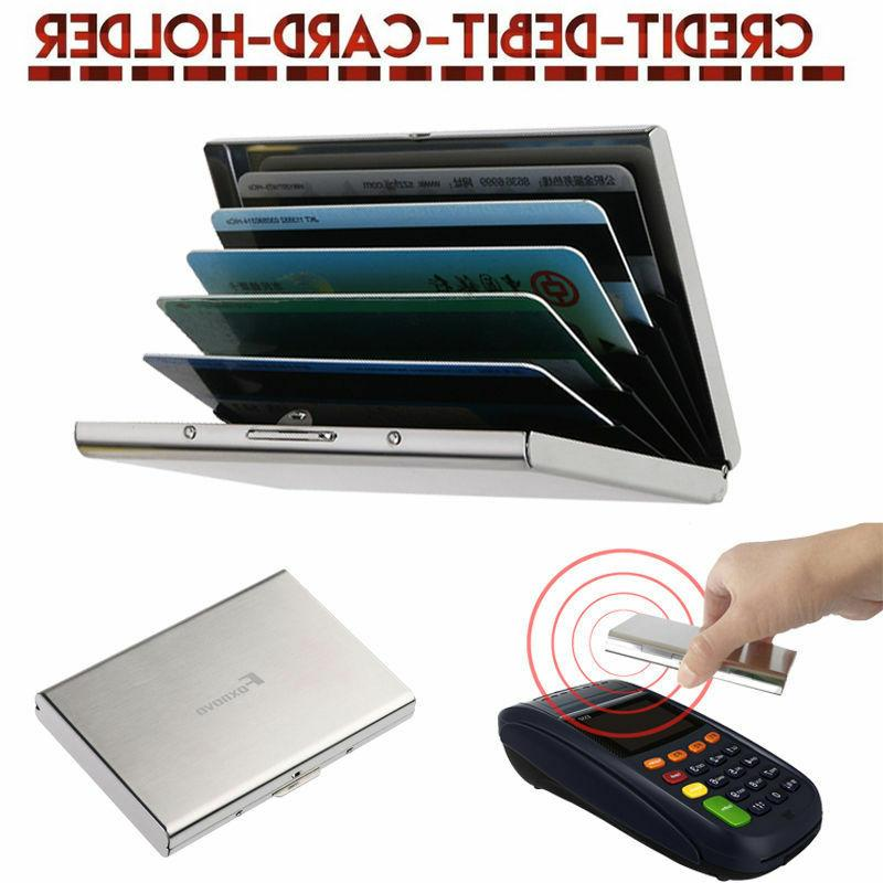 Thin Aluminum Metal Wallet Credit Card Holder Protection Cas