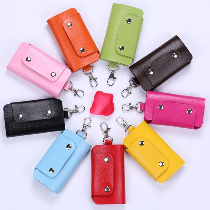 Unisex Chic Faux Leather Case Key Ring Pouch Bag Keychain Wa