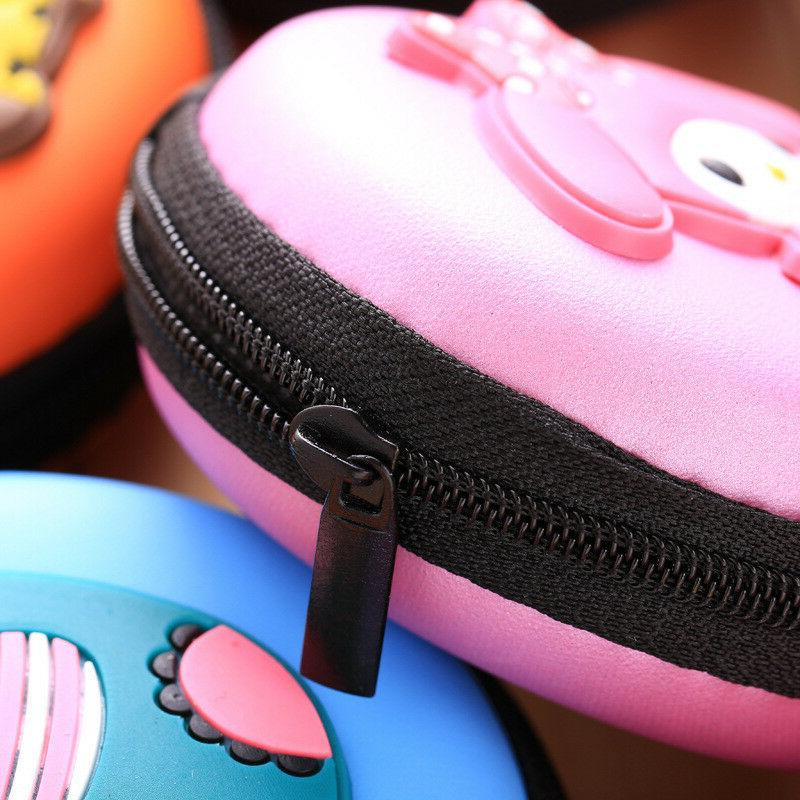 *US Seller* PVC Cartoon Round Earbuds Earphone Coin Bag Key Pouch