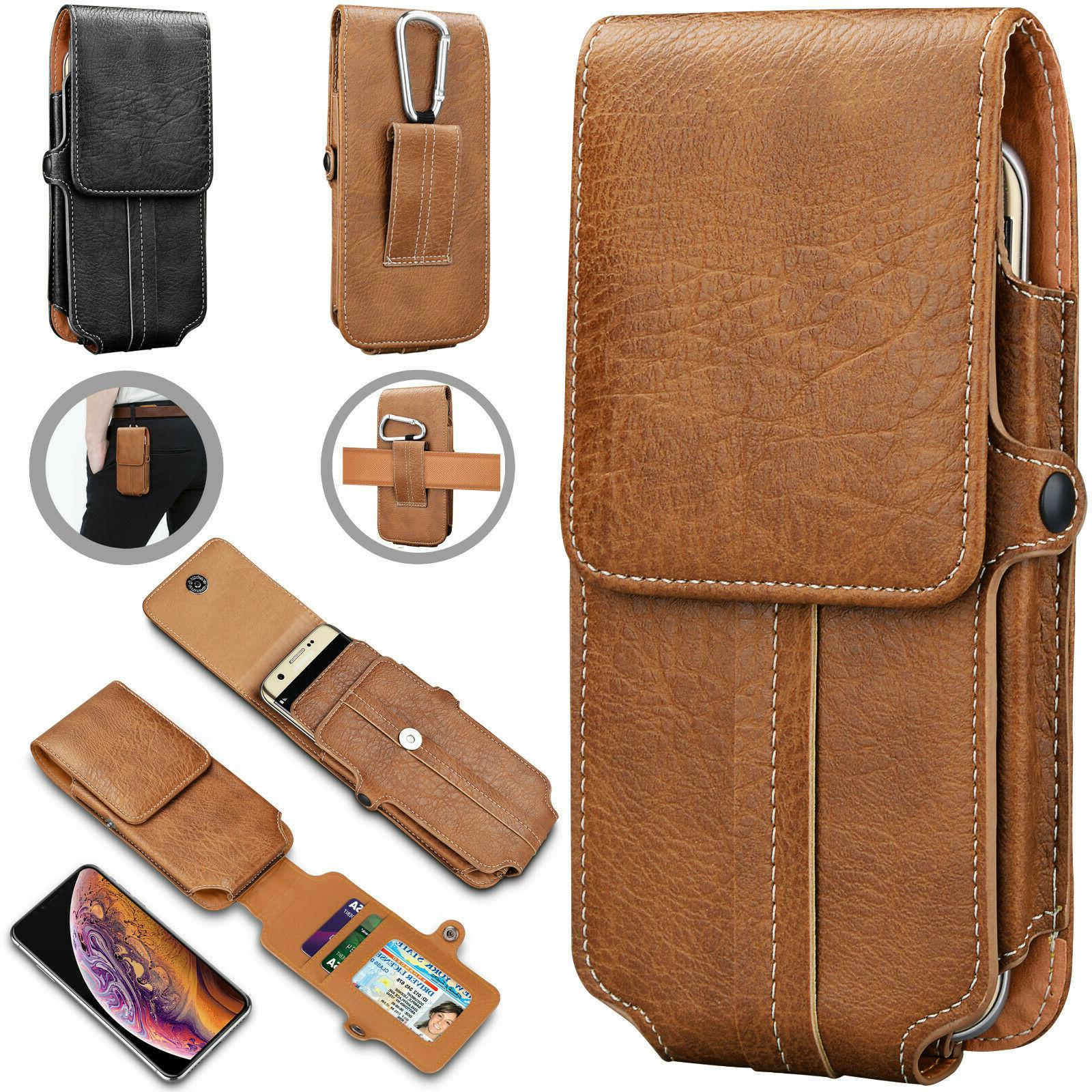vertical leather cell phone pouch card holder