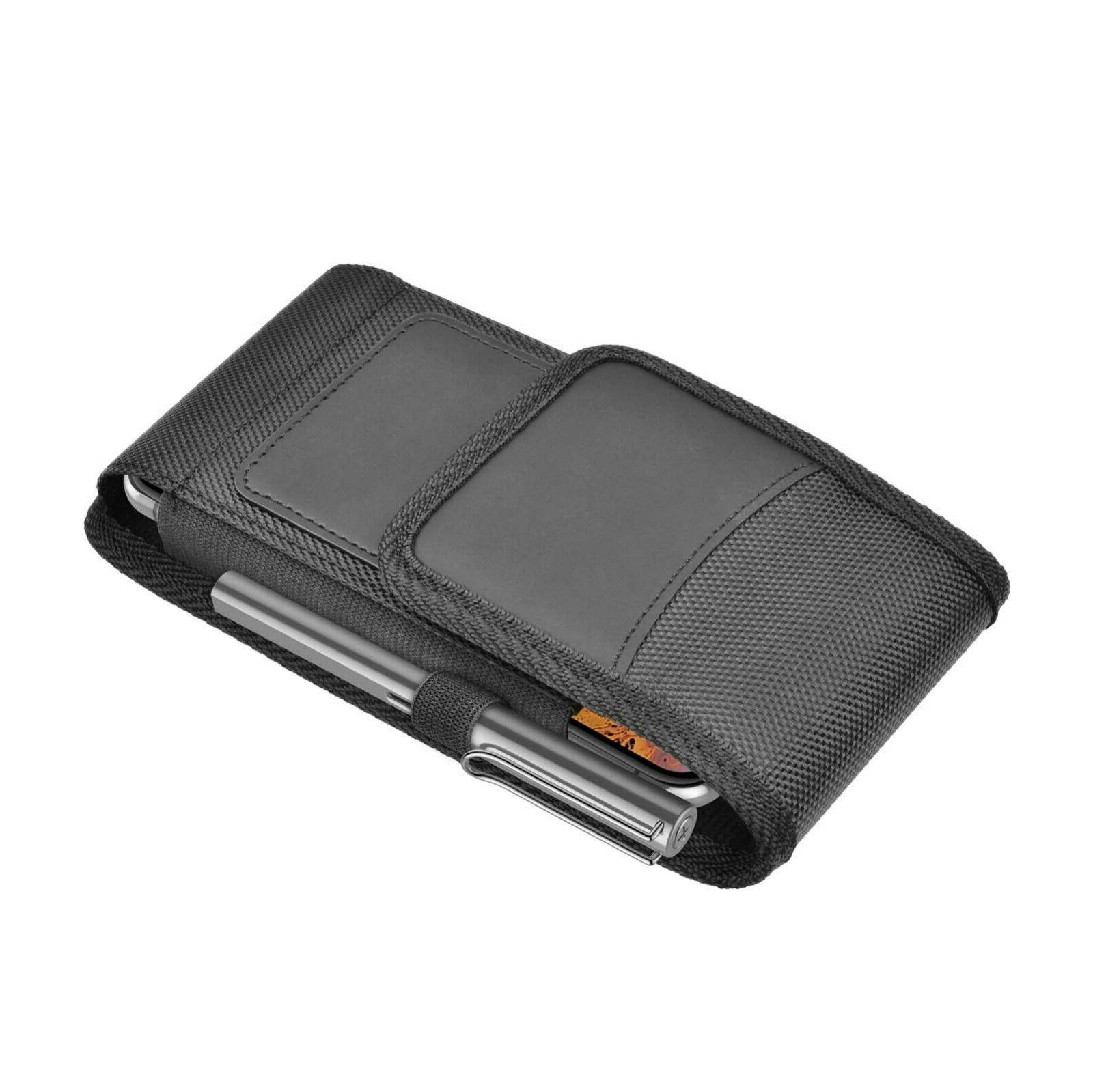 Vertical Nylon Holster Pouch with Clip Loop For Samsung