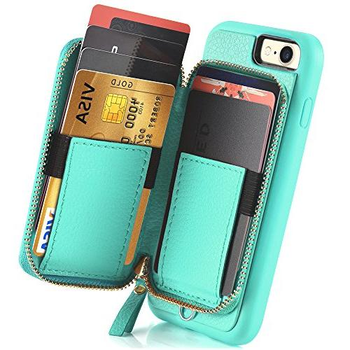 ZVE Case for Apple and iPhone inch, Zipper Case Credit Handbag Purse Protective Apple iPhone 8/7 inch -