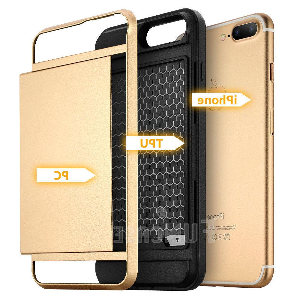 Wallet Case Credit ID Holder Slim Phone for iPhone 7 8Plus