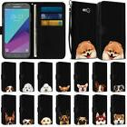 Wallet Pouch Case Cover w/ Dog Design for Samsung Galaxy J3