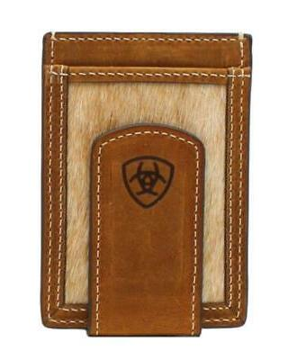 western mens money clip card case leather
