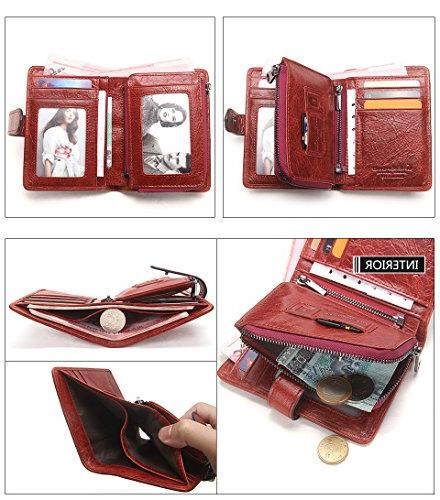 Women's Leather Cowhide Bifold zipper with Credit Card Bifold