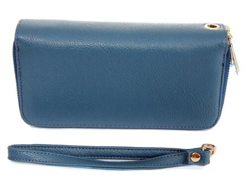 Women's New Faux Leather Wallet Double Around Case Purse