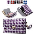 womens houndstooth wallet case clutch cover