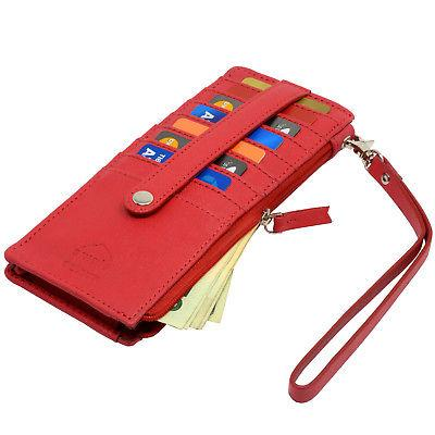 Alpine Swiss Womens Wristlet Wallet Card Organizer Zipper Clutch