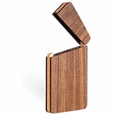 wood business card holder wooden case slim