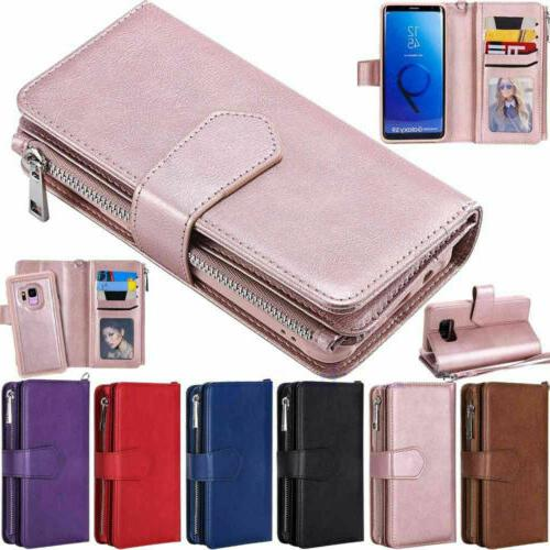 zipper leather wallet case for samsung s10