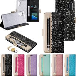 Lace Zipper Leather Wallet Card Stand Case For Samsung Galax