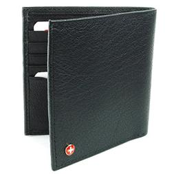 Alpine Swiss Men's Leather Bifold Hipster Wallet Money ID Ho