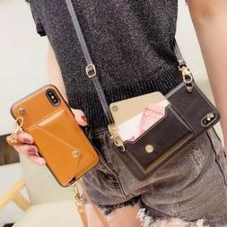 leather change wallet case with crossbody strap