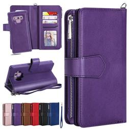 Leather Flip Removable Wallet Case Cover For Samsung Galaxy