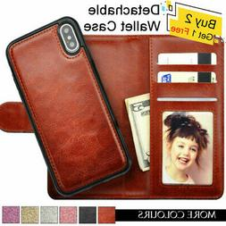 Leather Magnetic Removable Card Wallet Flip Case For iPhone