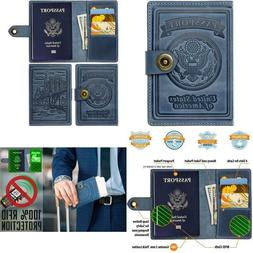 Leather Rfid Blocking Us Passport Holder Cover Id Card Walle