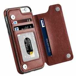 Leather Slim Wallet Credit Card Slot Stand Cover Case for iP