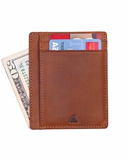 Andar Leather Slim Wallet, Minimalist Front Pocket RFID Bloc