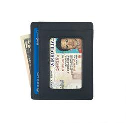 Andar Leather Slim Wallet with ID Window, Minimalist Front P