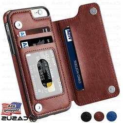 Leather Wallet Back Magnetic Flip Cover Thin Slim Case FOR i