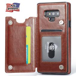Leather Wallet Magnet Flip Cover Thin Slim Case For Samsung