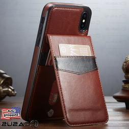 Leather Wallet Magnetic Vertical Flip Cover Stand Thin Case