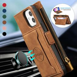 Leather Zipper Crad Holder Wallet Case For iPhone 13 12 Pro