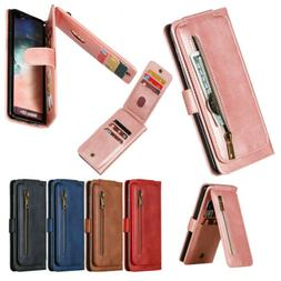 Leather Zipper Wallet Stand Case Cover For Samsung Galaxy No