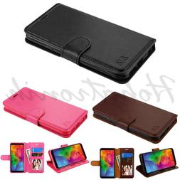 LG Q7 & Q7+ Leather Flip Wallet Phone Case Cover Protector C