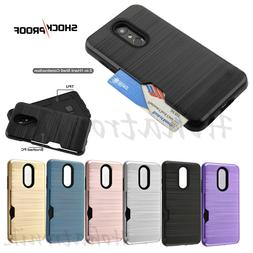 For LG Stylo 4 Hybrid Rubber Rugged Hard Card Slot Wallet Ca