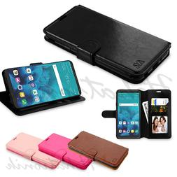 For LG Stylo 4 Leather Flip Wallet Fold Protective Phone Cas