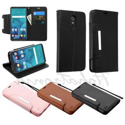 For LG Stylo 4 Leather Wallet Protective Magnet Case Fold Co