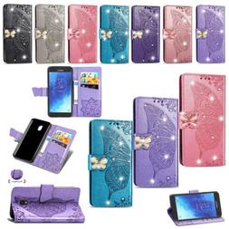 For LG Stylo 5 4 K40 Butterfly Bling Cards Slots Flip Leathe