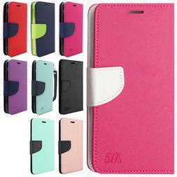 For LG X Charge Premium Leather 2 Tone Wallet Case Pouch Fli