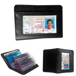 Lock Case 36 Cards IDs Storage Small  Wallet - Leather RFID