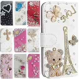 Luxury Bling Diamond Flip Case Leather Wallet Stand Cover Fo