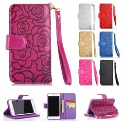 Luxury Flip Wallet Case Rose Leather Women's Cover for iPhon