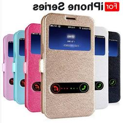 Luxury Front Window View Leather Filp Cover <font><b>Case</b