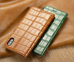 Luxury Genuine Leather Flip Phone Card Stand Case Cover For