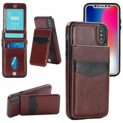 Luxury Leather Card Holder Wallet Stand Cover Case For iPhon