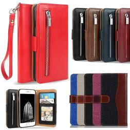 Luxury Leather Card Wallet Flip Case Cover for Apple iPhone