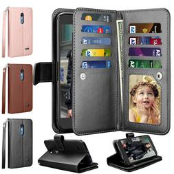 Luxury Leather Wallet Case Flip Holder Card Protective Stand
