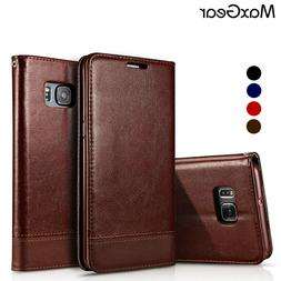 MaxGear® Luxury Leather Wallet Flip with Stand Cover Samsun