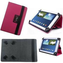 "Magenta Flip Leather Wallet Folio Case Stand Cover for 9"" 10"