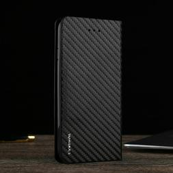 Magnetic Carbon Leather Flip Wallet Case Cover for iPhone 11