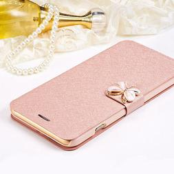 Magnetic Flip Butterfly Silk Leather Stand Wallet Case for i