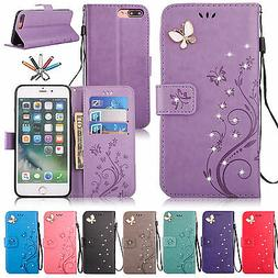 Magnetic Flip Leather Stand Card Diamond Wallet Case Cover F