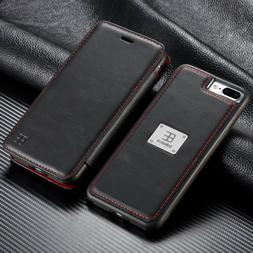 Magnetic Flip Wallet Case Leather Detachable Cover For iPhon
